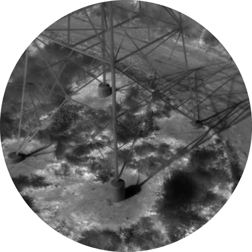 Thermal image of base of transmission tower.